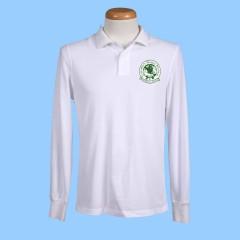CW102 White Long Sleeve Polo w/Green Printed Logo (Unisex)