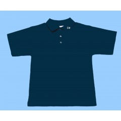 MMM7006 - Navy  Short Sleeve Polo with Maimonide Initials on Collar