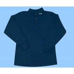 MMM7008- Navy  Long Sleeve Polo with Maimonide Initials on Collar