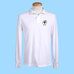 MAI102  White Long Sleeve Polo with Embroidered Maimonide Logo