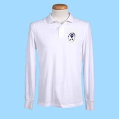 MAI102  White Long Sleeve Polo with Embroidered Maimonide Logo