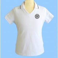 CAV1001 - Girls white short sleeve V neck polo
