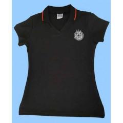 CAV1002 - Girls Black Short Sleeve V Neck Polo