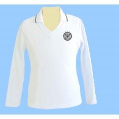 CAV1003- Girls Tapered white V neck long sleeve polo