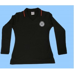 CAV1004 - Girls Black Long SleeveV Neck Polo