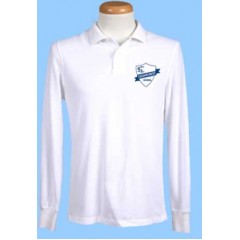 CED102 White Long Sleeve Polo with  Printed Logo (Unisex)