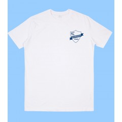 CED501 - White Short Sleeve T-shirt  with Navy Printed Logo