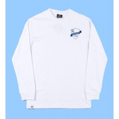 CED552 - White Long Sleeve T-shirt  with Navy Printed Logo