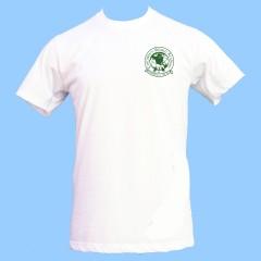 CW501 White Gym T-Shirt w/Green Printed Logo