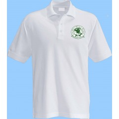 CW101 - White Short Sleeve Polo with Green Printed Logo (Unisex)