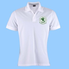 CW103 Girls Tapered White Short Sleeve Polo Green Printed Logo