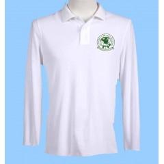 CW104 Girls Tapered WhiteLong Sleeve Polo Green Printed Logo