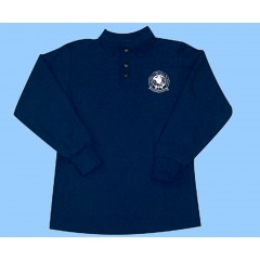 CW202 Navy Unisex Long Sleeve Polo white Printed Logo
