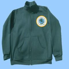 CW900 Green fleece zip cardigan with crest