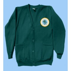 CW990 Green fleece button cardigan with crest