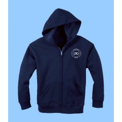 ECLE4080 Navy Zip Hoodie with Kangaroo Pockets and school logo