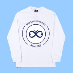 ECLE552 - White Long Sleeve T-shirt  with Navy Printed Logo