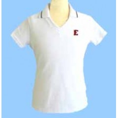 FEL1001 - Girls white short sleeve V neck polo