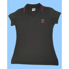 FEL1002 - Girls Black Short Sleeve V Neck Polo