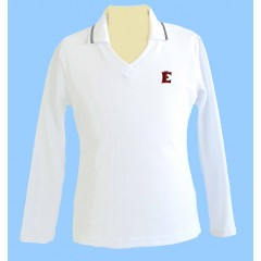 FEL1003- Girls white V neck long sleeve polo