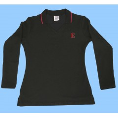 FEL1004 - Girls Black Long SleeveV Neck Polo
