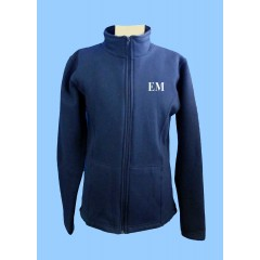 MMM1005 -Girls Navy Tapered Zippered Fleece Cardigan with EM embroidery