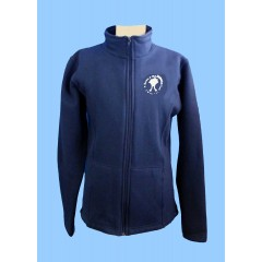 MAI1005  Girls Navy Tapered Zippered Fleece Cardigan with Embroidered Maimonide Logo