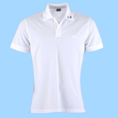 MAI103  Girls Piqué White Short Sleeve Polo with EM initals on collar