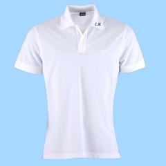 MAI103  Girls Piqué White Short Sleeve Polo with EM initals on collar