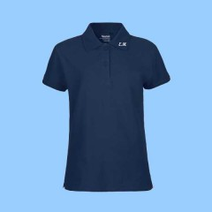 MMM7001 - Ladies Navy  Short Sleeve Piqué Polo with Maimonide Initials on Collar