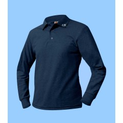 MMM7003 - Ladies Navy Long Sleeve Piqué Polo with Maimonide Initials on Collar