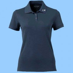 MMM2001 - Ladies Navy  Short Sleeve Lycra Polo with Maimonide Initials on Collar