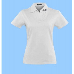 MAI253  Girls Lycra White Short Sleeve Polo with EM initals on collar