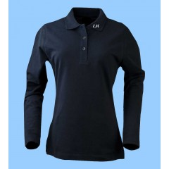MMM2003 Ladies Navy  Long Sleeve Lycra Polo with Maimonide Initials on Collar