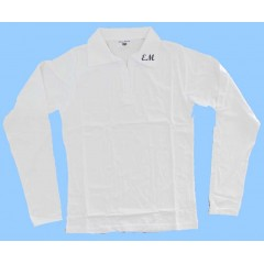 MAI254 Girls Lycra WhiteLong Sleeve with EM initials embroidered