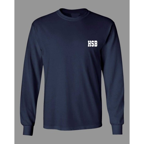 HSB702 -  Poly cotton Navy  Long Sleeve  T-shirt with HSB logo for Daily Wear