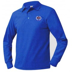 KAL7008 - Boys  Royal Blue  Long Sleeve Piqué Polo with embroidered school crest