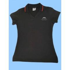 LAP1002 - Girls Black Short Sleeve V Neck Polo