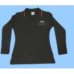 LAP1004 - Girls Black Long SleeveV Neck Polo