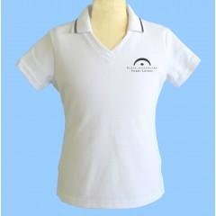 LAP1001 - Girls white short sleeve V neck polo