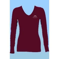 LAP2001-Girls Tapered Burgundy V Neck T-shirt - Long Sleeves