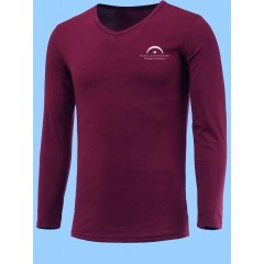 LAP2003- Burgundy V Neck T-shirt - Long Sleeves