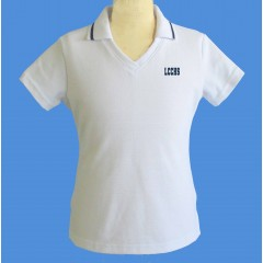 LHS1001 - Tapered white V neck polo -Short Sleeves