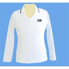 LHS1003 - Tapered white V neck polo -Long Sleeves