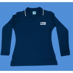 LHS1004 - Tapered Navy  V neck polo -Long Sleeves