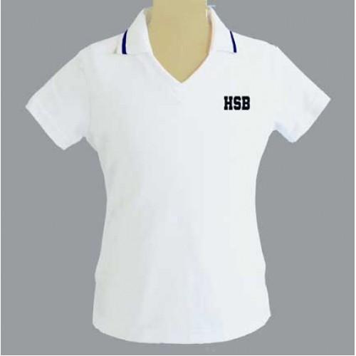 HSB1001F - Tapered white V neck polo -Short Sleeves