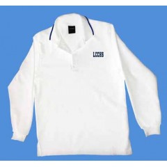 LHS1008 - Urban  Style white  polo -Long Sleeves