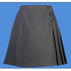 LHS8017 - Girl's Woven Twill Grey Pleated Skort