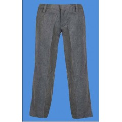 LHS8019 - Junior Style Woven Twill Grey Pant with Elastic Back