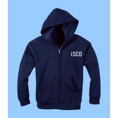 ESCO4080 Navy Zip Hoodie with Kangaroo Pockets and school logo